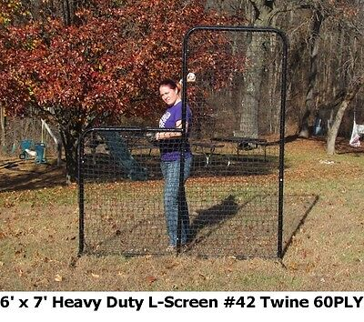 6' x 7' L-Screen Heavy Duty Baseball Safety FRAME with NET #42 Twine Size incl.