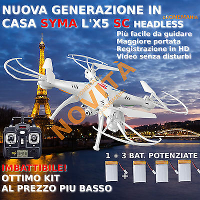 DRONE RC  SYMA X5-SC nuovo modello HEADLESS  2,4Ghz Telecamera HD video foto LED