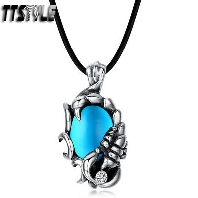 TTstyle 316L Stainless Steel Scorpion Pendant Necklace With Black Onyx Red Eye