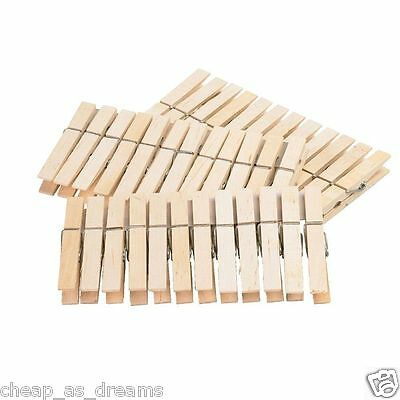 48 Wooden Clothes Hanging Pegs Washing Line Dryer Airer Wood Outdoor Indoor UK