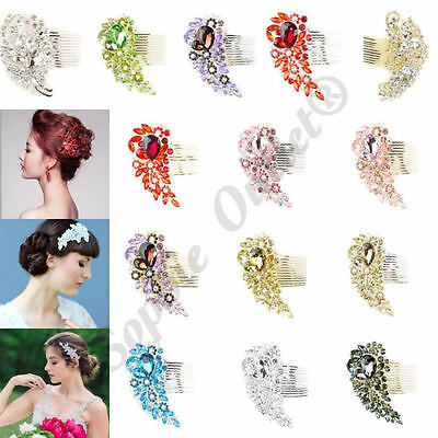 Bride Diamond Hair Comb Prom Party Wedding Bridal Hair Clip Silver Gold Crystal