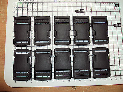"""10pcs. Black Plastic Side Release Buckles For Webbing 25mm Bags Straps Clips """"P"""""""