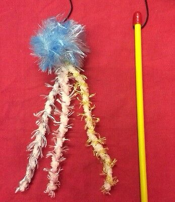 Cat Kitten Toy Catnip 10 Inch Blue Fluffy Ball Fluffy Tail Dangler Interactive
