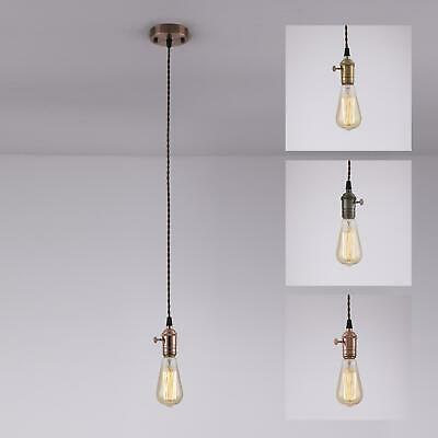 Industrial Edison Vintage Pendant Light, Lamp, Fabric Cord , With Switch
