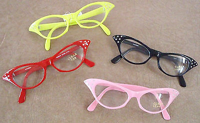 50's 60's Style Retro Rhinestone Cat Eye Clear Glasses New Poodle Sock Hop A40