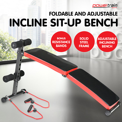 NEW DECLINE SIT UP HOME GYM WEIGHT BENCH PRESS FITNESS SITUP w/ RESISTANCE BANDS