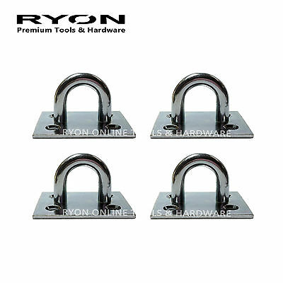 """4x 2-1/2"""" 62mm Fixed Plated Staple 9mm Staple On Plate Chain Plate Heavy Duty ZP"""