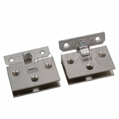 Stainless Steel 90° Frameless Wall to Glass Bathroom Door Hinge Clamps Clip 2pcs