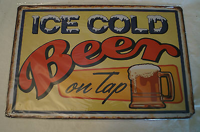 RETRO STYLE TIN SIGN - Ice Cold Beer - On Tap.