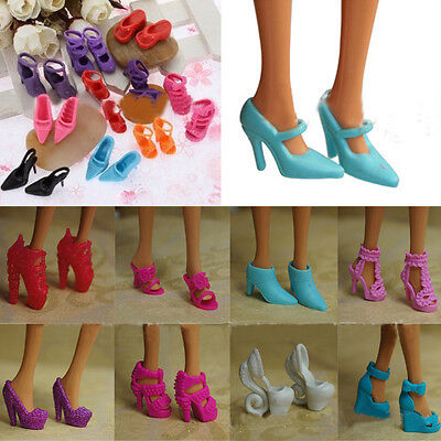 10Pairs High Heel Sandal Shoes Mixed for Barbie Doll Toy Princess Dress Clothes