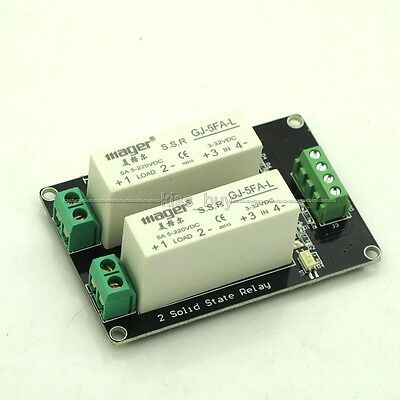 2 Channel SSR Solid State Relay high-low trigger 5A 3-32V For Arduino uno R3