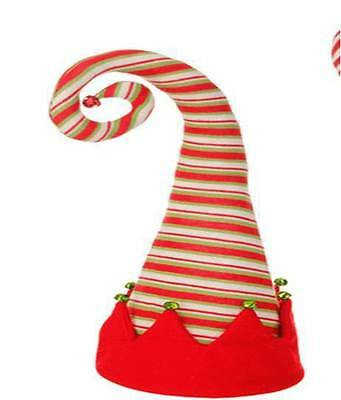 "RAZ Imports 18"" Elf Hat Tree Topper Red/White/Green Striped Christmas NEW!"
