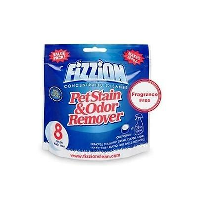 Fizzion Pet Stain & Odor Remover Cleaner 8 Tablet Bag FRAGRANCE FREE Makes 184oz