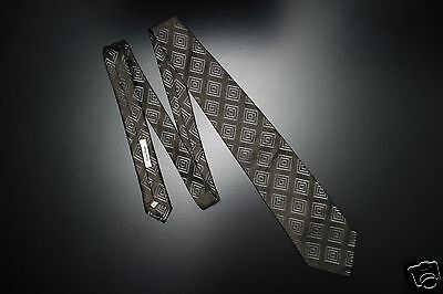 Alfred Dunhill London Made in Italy Olive Gray Diamond Geometric Woven Silk Tie