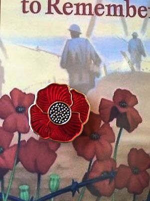 The Red Poppy * Remembrance Day Lapel Pin *ANZAC Day* On Card