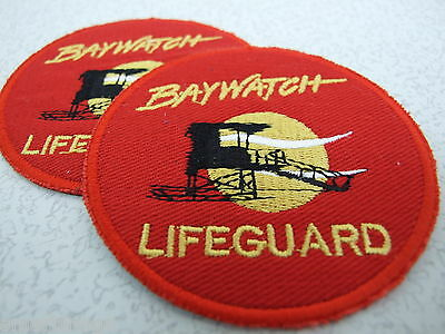 Lot of 2 BAYWATCH LIFEGUARD LOGO EMBROIDERED PATCHES - IRON ON