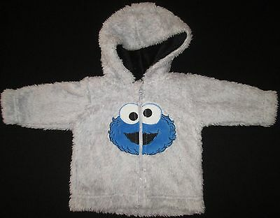 Baby Jacket Boys Sesame St Cookie Monster Soft Fluffy with Hood Size 0000 000 00