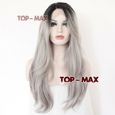 "Popular Black Mixed Grey 26"" Wavy Heat Resistant Women Hair Lace Front Wig"