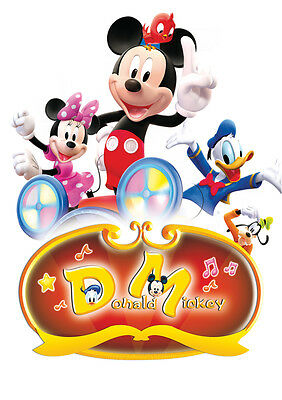 Sticker Autocollant Poster A4 Dessin Disney.mickey Moose Donald Minnie Pluto.