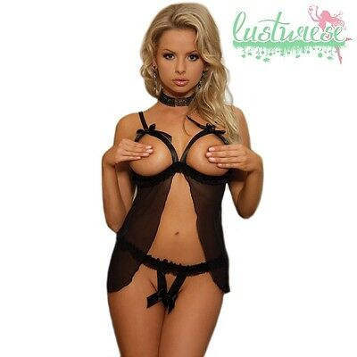 Satin Babydoll Lingerie Negligee Sexy Nachthemd Dessous Open Panty String