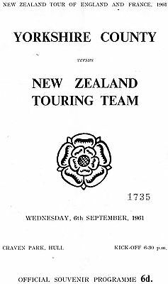 1961 - Yorkshire County v New Zealand, Rugby League Programme