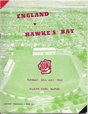 1963 - Hawke's Bay v England, Rugby Union Touring Programme.