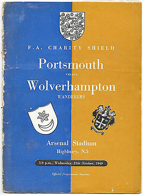 Portsmouth v Wolves, 1949/50 - Charity Shield Football Programme.
