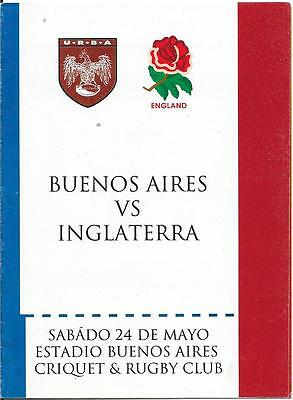 1997 - Buenos Aires v England, Rugby Union Touring Programme.