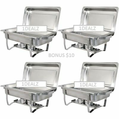 FedEx 4 PACK CATERING FOLDING CHAFER CHAFING Dish Sets 8 QT PARTY PACK w REBATE