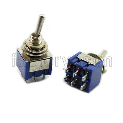 5PCS Blue Mini Toggle Switch DPDT ON-OFF-ON Three Position 12V 6A MTS-203
