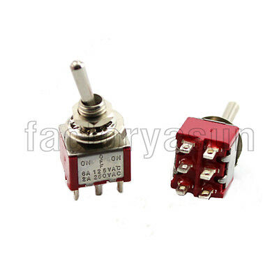 5PCS Red Toggle Switch DPDT 3 Position ON-OFF-ON 6-PIN 12V 6A Silver Contacts