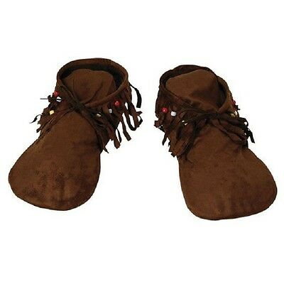 Mens Ladies Hippy Hippie Moccassins Moccasins Indian Fancy Dress Costume Shoes