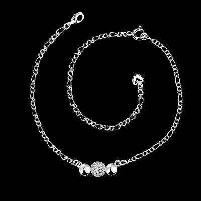 """European Fashion 925Sterling Silver Zircon Simple And Noble  Anklets 12"""" SPA029"""