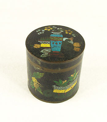 Antique Round Chinese Cloisonne Enamel Round Metal Box - Tea Caddy