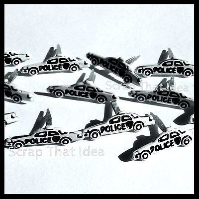 POLICE CAR  Brads. 12pcs.  Scrapbooking/ Cards/ Craft. Squad,Chase,Cops are Tops