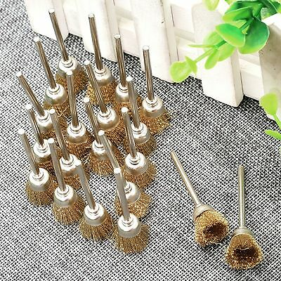 20Pcs Brass Wire Cup Wheel Polishing Brush Cleaner For Grinder Die Rotary Tools