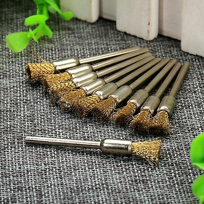 10pc Pen Shape Brass Wire Polishing Brush 3mm Shank For Grinder Dril Rotary Tool