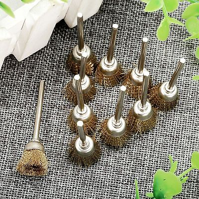 10Pcs 15mm Dia Brass Wire Cup Wheel Polishing Brushes For Grinder Rotary Tools