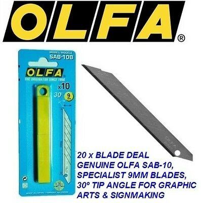 50 x GENUINE OLFA SAB 9mm SNAP OFF UTILITY BLADES FOR GRAPHIC ARTS & SIGNMAKING