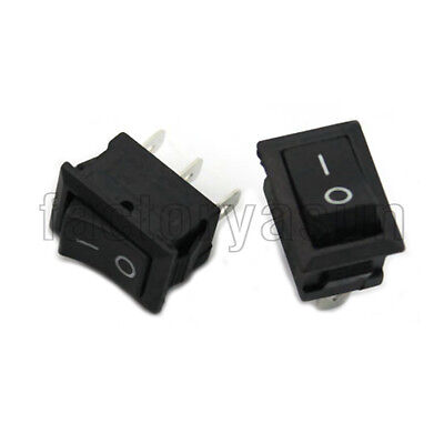 "5PCS Rectangle Black Rocker Boat Switch 3 Pin SPDT ON-ON 12V 10A 0.51"" X 0.75"""