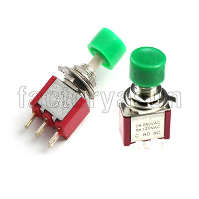 5PCS Mini Momentary Green Push Button Switch Click SPDT NO-COM-NC 3-Pin 12V 5A
