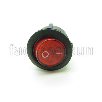 5PCS Round Red Rocker Switch SPST 20mm 0.79' With Neon Light Indicator 250V
