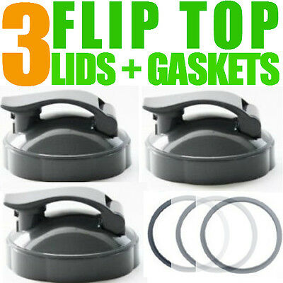 3 x Nutribullet Flip Top Lid To Go with Gasket fits 600 + 900 Cups and Mugs UK
