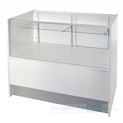 Counter Glass Showcase with Storage White 1530mm x 510mm x 970mm