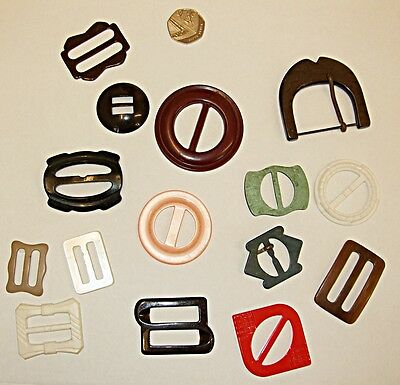 Vintage Collection Of 15 Lucite  Bakelite Buckles Lovely Set K