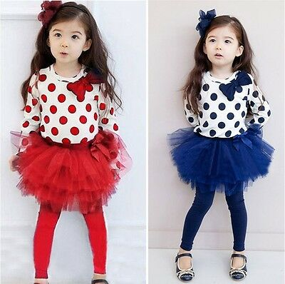 Girl Toddler Blue / Red top with bow + skirt legging 2pcs set Size 1-7