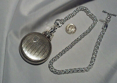 """New Hand-Made Silver Plated Pocket Watch Chain:18"""" Vest Wheat Link"""