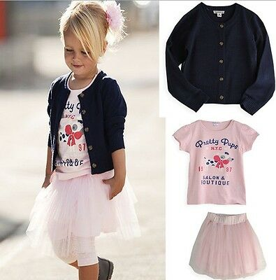 Girl Toddler 3Pcs Set Navy jumper + pink t shirt + skirt dress size 1-6 years