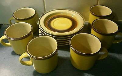 Vintage / Retro Cup and Saucer Set 12 pce. Apollo Stone by Atelier Sone Japan
