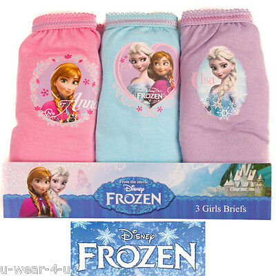 Children Girls Frozen Knickers Briefs Underwear 3Pk Disney Character Pretty